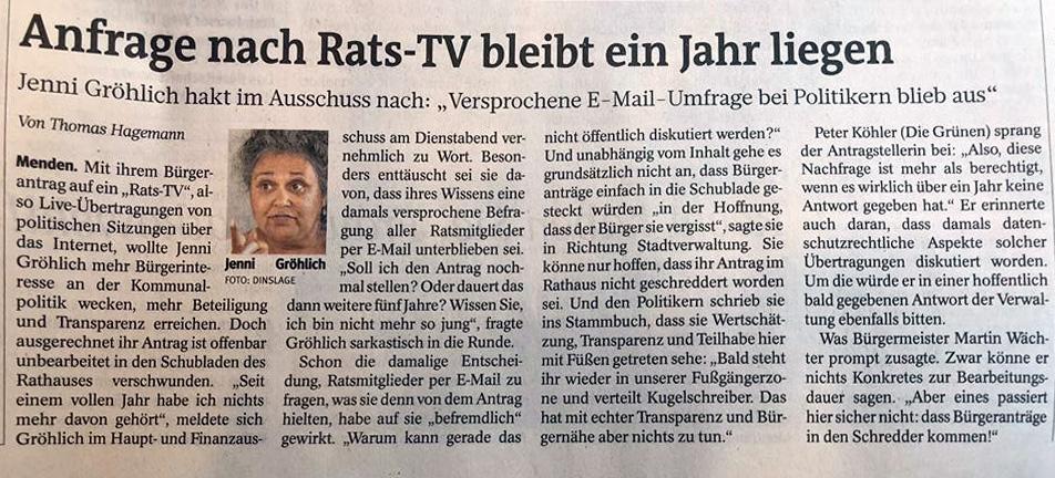"""Toller Bericht in der """"Westfalenpost Menden"""""""